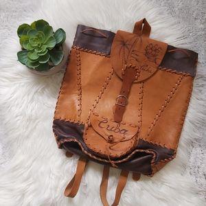 Rare Vintage Leather Handmade Cuba Mini Back Pack